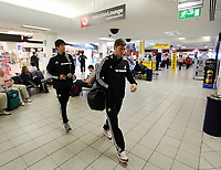 Wednesday 07 August 2013<br /> Pictured L-R: Ki Sung Yueng and Ben Davies at Cardiff Airport.<br /> Re: Swansea City FC travelling to Sweden for their Europa League 3rd Qualifying Round, Second Leg game against Malmo.