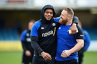 Levi Douglas and Ross Batty of Bath Rugby prior to the match. Gallagher Premiership match, between Bath Rugby and Harlequins on March 2, 2019 at the Recreation Ground in Bath, England. Photo by: Patrick Khachfe / Onside Images
