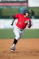 Tyler Sullivan (5) of the Kannapolis Intimidators legs out a triple against the Hickory Crawdads at Kannapolis Intimidators Stadium on April 10, 2016 in Kannapolis, North Carolina.  The Intimidators defeated the Crawdads 10-3.  (Brian Westerholt/Four Seam Images)