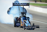 Oct. 28, 2012; Las Vegas, NV, USA: NHRA top fuel dragster driver Brandon Bernstein during the Big O Tires Nationals at The Strip in Las Vegas. Mandatory Credit: Mark J. Rebilas-