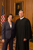 Chief Justice John G. Roberts, Jr., and Associate Justice Elena Kagan pose together in the Justices' Conference Room in the Supreme Court Building after Justice Kagan signed her oath of office on Saturday, August 7, 2010..Mandatory Credit: Steve Petteway - US Supreme Court via CNP