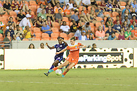 Houston, TX - Saturday Sept. 03, 2016: Jasmyne Spencer, Cari Roccaro during a regular season National Women's Soccer League (NWSL) match between the Houston Dash and the Orlando Pride at BBVA Compass Stadium.
