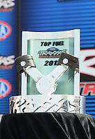 Sept. 1, 2012; Claremont, IN, USA: NHRA Traxxas Top Fuel Shoot Out Trophy XXXX during qualifying for the US Nationals at Lucas Oil Raceway. Mandatory Credit: Mark J. Rebilas-