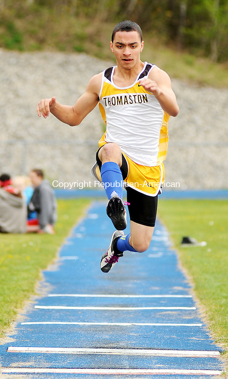 WINSTED,  CT, 24 APRIL  2012-042412JS09- Thomaston's Devin Vigt competes in the long jump during their meet with Northwestern and Wamogo Tuesday at Northwest Regional High School in Winsted. .Jim Shannon Republican-American