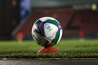 Replacement match ball on a covid safe plinth during Leyton Orient vs Plymouth Argyle, Caraboa Cup Football at The Breyer Group Stadium on 15th September 2020