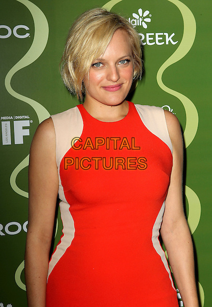 Elisabeth Moss<br /> Variety &amp; Women In Film Pre-Emmy Event presented by Yoplait Greek held at Scarpetta, Beverly Hills, California, USA, <br /> 20th September 2013.<br /> half length red beige print sleeveless dress blonde <br /> CAP/ADM/KB<br /> &copy;Kevan Brooks/AdMedia/Capital Pictures