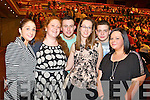 Pictured at Elvis concert at the INEC, Killarney, on Saturday were l-r: Tracey Moore (Chutehall, Tralee) Diane O'Sullivan (Killarney) Kelvin Reed Chutehall Aoife O'Sullivan (Rathmore) Maurice Leen (Ballymac) and Katie Leen (Ballymac).