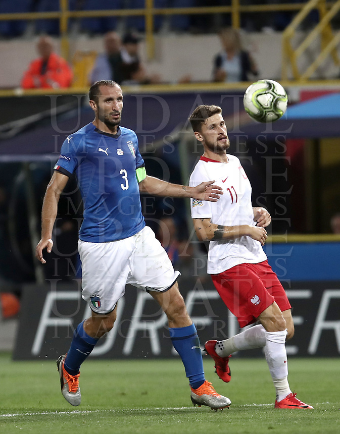 Football: Uefa Nations League match Italy vs Poland, Renato Dall'Ara stadium, Bologna, Italy, September 7, 2018. <br /> Poland's Mateusz Klich (r) in action with Italy's captain Giorgio Chiellini (l) during the Uefa Nations League match between Italy and Poland at the Renato Dall'Ara stadium, Bologna, Italy, September 7, 2018. <br /> <br /> UPDATE IMAGES PRESS/Isabella Bonotto