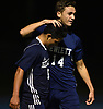 David Abikzer #14 of Hewlett, right, congratulates Brayan Matamoros Dubon #6 after he scored a goal to tie the match against Jericho 1-1 in the second half of a Nassau County Conference A-3 varsity boys soccer game Hewlett High School on Wednesday, Oct. 10, 2018. Hewlett won by a score of 4-2.