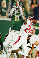 NWA Democrat-Gazette/BEN GOFF @NWABENGOFF<br /> Preston Williams (11), Colorado State wide receiver, catches a pass as Jarques McClellion, Arkansas cornerback, defends in the 4th quarter Saturday, Sept. 8, 2018, at Canvas Stadium in Fort Collins, Colo.