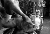 March 1997.Swiss actor Mario Adorf in Rome, Piazza Mattei