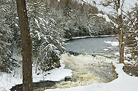 The Menominee River, located in Michigan's Upper Peninsula, on a beautiful winter day. Norway, MI