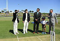 21st November 2019; Mt Maunganui, New Zealand;  New Zealand captain Kane Williamson and England Captain Joe Root during the coin toss. international test match cricket, Day 1, New Zealand versus England at Bay Oval, Mt Maunganui, New Zealand.