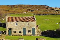 Farndale head farm building, North Yorkshire Moors National Park, England.
