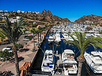 Aerial view of yacht pier, boats, palms, Tetakahui bay near the desert in San Carlos, Sonora, Mexico. Gulf of California. Sea of Cort&eacute;s. Mar Bermejo, is located between the peninsula of Baja California and the states of Sonora and Sinaloa, northwest of Mexico. Tourist destination, trips. Blue, Boats, calm. High Angle View (Photo: Luis Gutierrez / NortePhoto.com)<br /> ......<br /> Vista aerea de embarcadero de yates, barcos, palmas, bahia cerro Tetakahui junto al desierto en San Carlos, Sonora, Mexico. Golfo de California. mar de Cort&eacute;s. mar Bermejo, se  ubica entre la pen&iacute;nsula de Baja California y los estados de Sonora y Sinaloa, al noroeste de M&eacute;xico. Destino turistico, viajes. Azul, Barcos, calma. High Angle View  (Photo: Luis Gutierrez / NortePhoto.com)