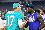 Dallas Cowboys wide receiver Dez Bryant (88) and Miami Dolphins quarterback Ryan Tannehill (17) in action during the pre-season game between the Miami Dolphins and the Dallas Cowboys at the AT & T stadium in Arlington, Texas.
