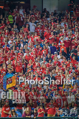 7 October 2016: Washington Nationals fans cheer on their team during the NLDS Game 1 against the Los Angeles Dodgers at Nationals Park in Washington, DC. The Dodgers edged out the Nationals 4-3 to take the opening game of their best-of-five series. Mandatory Credit: Ed Wolfstein Photo *** RAW (NEF) Image File Available ***