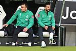 06.10.2019, Commerzbankarena, Frankfurt, GER, 1. FBL, Eintracht Frankfurt vs. SV Werder Bremen, <br /> <br /> DFL REGULATIONS PROHIBIT ANY USE OF PHOTOGRAPHS AS IMAGE SEQUENCES AND/OR QUASI-VIDEO.<br /> <br /> im Bild: Bank mit Philipp Bargfrede (#44, SV Werder Bremen) und Claudio Pizarro (SV Werder Bremen #14)<br /> <br /> Foto © nordphoto / Fabisch