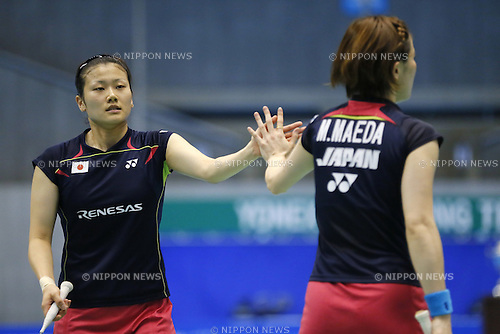 (L-R) Reika Kakiiwa, Miyuki Maeda (JPN),, June 15, 2014 - Badminton : Yonex Open Japan 2014 Women's Doubles final at Tokyo Metropolitan Gymnasium, Tokyo, Japan. (Photo by Yusuke Nakanishi/AFLO SPORT) [1090]