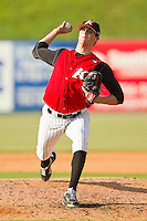 Kannapolis Intimidators starting pitcher Myles Jaye #10 in action against the Lexington Legends at CMC-Northeast Stadium on May 20, 2012 in Kannapolis, North Carolina.  The Legends defeated the Intimidators 7-1.  (Brian Westerholt/Four Seam Images)
