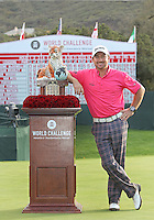 02 DEC 12  Graeme McDowell with the distinctive winners Tiger trophy at the conclusion of Sunday's Final Round of The Tiger Woods World Challenge at The Sherwood Country Club in Westlake Village, California. McDowell went on to a 3 stroke victory over Keegan Bradley. Photo Ken Dennis/ www.golffile.ie