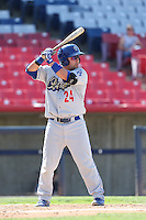 Tyler Ogle #24 of the Rancho Cucamonga Quakes bats against the High Desert Mavericks at Stater Bros. Stadium on May 27, 2014 in Adelanto, California. High Desert defeated Rancho Cucamonga, 5-4. (Larry Goren/Four Seam Images)