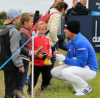 Merrick Bremner (RSA) signs autographs on the 15th tee during Round 4 of the 2015 Alfred Dunhill Links Championship at the Old Course in St. Andrews in Scotland on 4/10/15.<br /> Picture: Thos Caffrey | Golffile