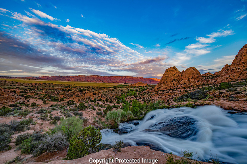 Waterfall and Spanish Valley, BLM lands, Utah Near Moab