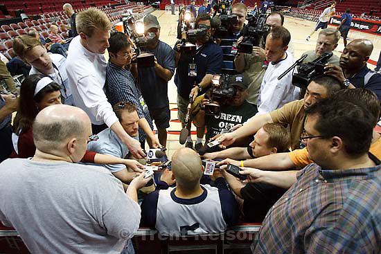 Houston - Utah Jazz off-day practice Sunday, April 20, 2008 at the Toyota Center. Utah Jazz forward Carlos Boozer (5)