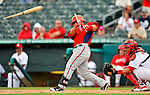 3 March 2011: Washington Nationals' catcher Jhonatan Solano breaks some lumber during action in a Spring Training game against the St. Louis Cardinals at Roger Dean Stadium in Jupiter, Florida. The Cardinals defeated the Nationals 7-5 in Grapefruit League action. Mandatory Credit: Ed Wolfstein Photo