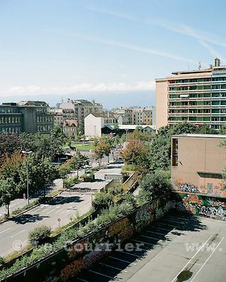 Genève, le 08.2008.Quartier de l'hôpital. Parking Lombard.© Le Courrier / J.-P. Di Silvestro