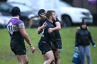 Harpenden score and  celebrate a try Woodford RFC vs Harpenden RFC, London 1 North Division Rugby Union at Highams on 9th November 2019