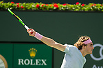 March 9, 2019: Stefanos Tsitsipas (GRE) hits a backhand as he was defeated by Felix Auger-Aliassime (CAN) 6-4, 6-2 at the BNP Paribas Open at the Indian Wells Tennis Garden in Indian Wells, California. ©Mal Taam/TennisClix/CSM