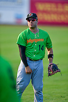 Steve Pollakov (14) of the Great Falls Voyagers throws before the game against the Ogden Raptors in Pioneer League action at Lindquist Field on August 18, 2016 in Ogden, Utah. Ogden defeated Great Falls 10-6. (Stephen Smith/Four Seam Images)