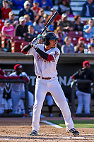 Wisconsin Timber Rattlers outfielder Joantgel Segovia (5) at the plate during a Midwest League game against the Quad Cities River Bandits on April 8, 2017 at Fox Cities Stadium in Appleton, Wisconsin.  Wisconsin defeated Quad Cities 3-2. (Brad Krause/Four Seam Images)