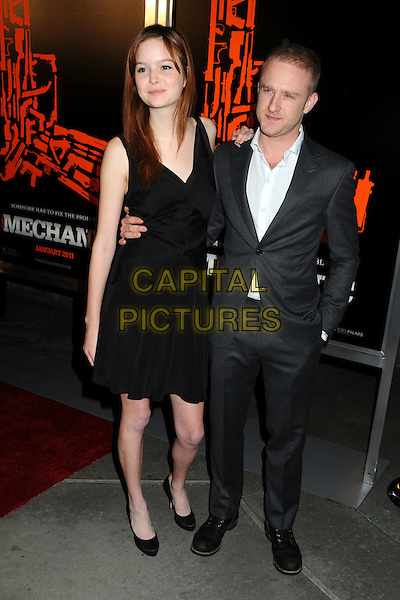"GUEST & BEN FOSTER .""The Mechanic"" Los Angeles Premiere held at Arclight Cinemas, Hollywood, California, USA, 25th January 2011..full length black shirt white shirt  grey gray suit dress .CAP/ADM/BP.©Byron Purvis/AdMedia/Capital Pictures."