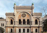 The Spanish Synagogue or Spanelska synagoga, a Moorish Revival synagogue built in 1868 to the design of Vojtech Ignatz Ullmann, in the Jewish quarter or Josefov, Prague, Czech Republic. The tripartite facade has a tall central section flanked by lower wings on each side and is topped by a pair of domed turrets. The building is owned by the Jewish Museum of Prague, and is used as a museum and concert hall. The historic centre of Prague was declared a UNESCO World Heritage Site in 1992. Picture by Manuel Cohen
