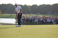 Rory McIlroy (NIR) on the 18th green during the final round of the WGC HSBC Champions, Sheshan Golf Club, Shanghai, China. 03/11/2019.<br /> Picture Fran Caffrey / Golffile.ie<br /> <br /> All photo usage must carry mandatory copyright credit (© Golffile | Fran Caffrey)