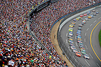 Apr 27, 2008; Talladega, AL, USA; NASCAR Sprint Cup Series drivers Joe Nemechek (78) and Tony Stewart (20) lead the field to the green flag during the Aarons 499 at Talladega Superspeedway. Mandatory Credit: Mark J. Rebilas-
