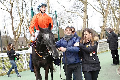 08.03.2016. Deauville, France.  3rd Race. De La Vie Claiming Stakes.  Kendannemarie with Marie Anne Bernadet wins the female jockey race