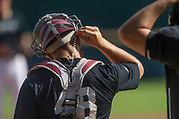 Hawgs Illustrated/BEN GOFF <br /> Zack Plunkett, junior catcher, adjusts his headset Wednesday, Oct. 11, 2017, during the Arkansas baseball Fall World Series scrimmage at Baum Stadium in Fayetteville.