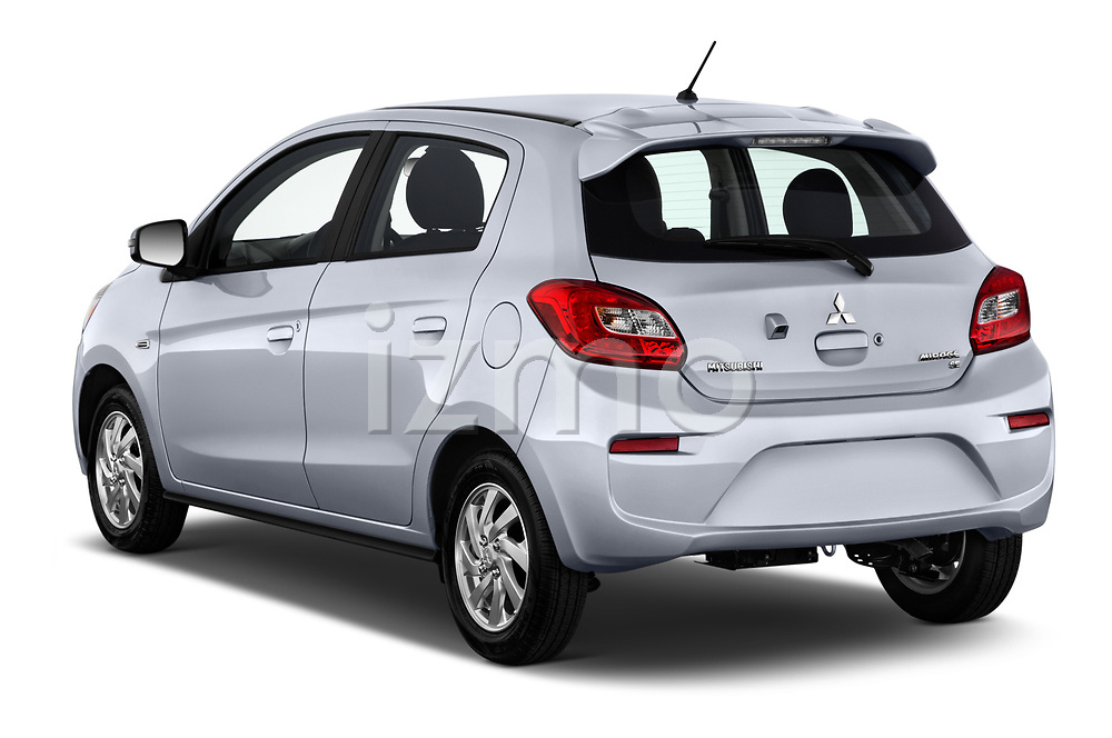 Car pictures of rear three quarter view of 2017 Mitsubishi Mirage SE 5 Door Hatchback Angular Rear