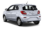 Car pictures of rear three quarter view of 2018 Mitsubishi Mirage SE 5 Door Hatchback Angular Rear
