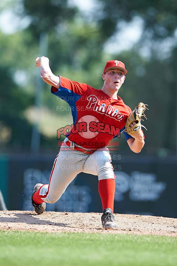 Ryley MacEachern #18 of the Salisbury School in Saugus, Massachusetts playing for the Philadelphia Phillies scout team during the East Coast Pro Showcase at Alliance Bank Stadium on August 3, 2012 in Syracuse, New York.  (Mike Janes/Four Seam Images)