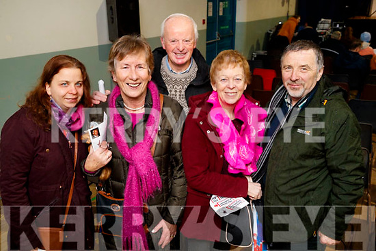 Neasa Ní Mhórián (Camp) Phil Leane (Derrymore), Sean Leane (Derrymore), Mary Cantillon (Camp) and Padraig Ó Móráin (Camp), pictured at 'The Cripple of Inishmaan' at Ardfert Community Centre on Friday night last.