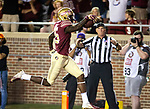 Florida State wide receiver Tamorrion Terry celebrates Florida State's first touchdown during an NCAA college football game against Samford in Tallahassee, Fla.,Saturday, Sept. 8, 2018.  Florida State defeated Samford 36 to 26.