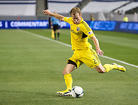 CARSON, CA - March 2, 2013: Columbus defender Tyson Wahl (2) during the Chivas USA vs Columbus Crew match at the Home Depot Center in Carson, California. Final score, Chivas USA 0, Columbus Crew 3.