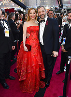Leslie Mann, left, and Judd Apatow arrive at the Oscars on Sunday, March 4, 2018, at the Dolby Theatre in Los Angeles. (Photo by Charles Sykes/Invision/AP)