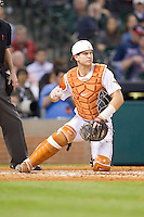 Texas Longhorns catcher Jeremy Montalbano #33 on defense against the Rice Owls at Minute Maid Park on February 28, 2014 in Houston, Texas.  The Longhorns defeated the Owls 2-0.  (Brian Westerholt/Four Seam Images)