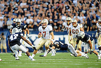 Sept. 19, 2009; Provo, UT, USA; Florida State Seminoles quarterback (7) Christian Ponder runs the ball in the third quarter against the BYU Cougars at LaVell Edwards Stadium. Florida State defeated BYU 54-28. Mandatory Credit: Mark J. Rebilas-
